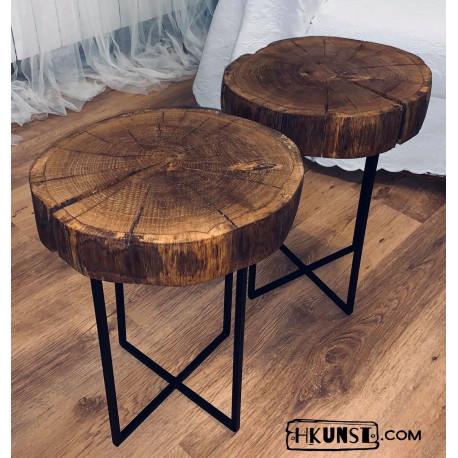 Couchtisch Beistelltisch Massivholz Holzscheibe Eiche Ø 38-44cm