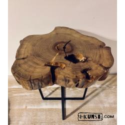 Couchtisch Beistelltisch Massivholz Holzscheibe Akazien Ø 37cm