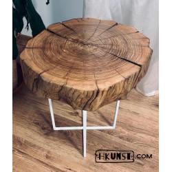 Couchtisch Beistelltisch Massivholz Holzscheibe Esche Ø 47-50cm