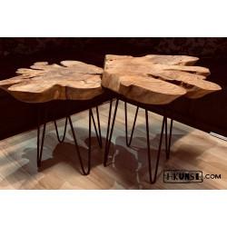 Couchtisch aus Kirschwurzel Beistelltisch Massivholz Holzscheibe Ø 50-60cm