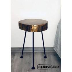 Nachttisch Beistelltisch Couchtisch Massivholz Holzscheibe Hainbuche Ø 27-30cm