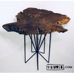 Couchtisch aus Eichenwurzel Beistelltisch Massivholz Holzscheibe Ø 61cm