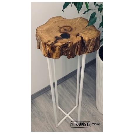 Bartisch Stehtisch Hochtisch Massivholz Holzscheibe Akazien Epoxidharz Ø 43cm