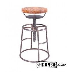 Industrial Hocker aus Stahl mit Eichenholz Sitz