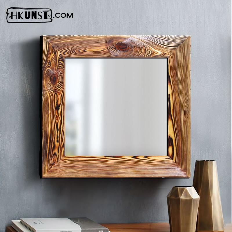 Wandspiegel mit holzrahmen 40x40cm hkunst - Wandspiegel mit holzrahmen ...